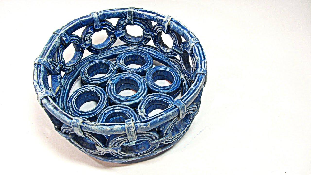 Como hacer cestas con periodicos basket made with newspapers youtube - Hacer cestas con papel de periodico ...