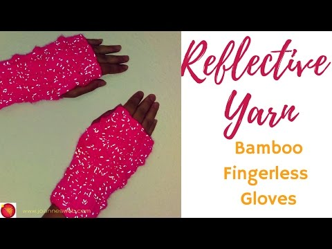 Bamboo Rib Reflective Fingerless Gloves | Fingerless Mittens Glow | Runner's Gloves