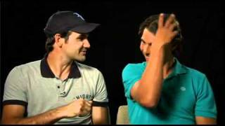 Roger Federer and Rafa Nadal can't stop laughing at the tv spot. Really Funny!