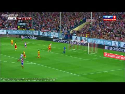 HD David Villa Great Goal Atletico madrid vs FC Barcelona 1-0 21 08 2013