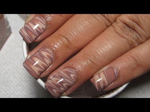 Work Appropriate Water Marble on Short Nails with Neutral Colors Nail Art Tutorial,