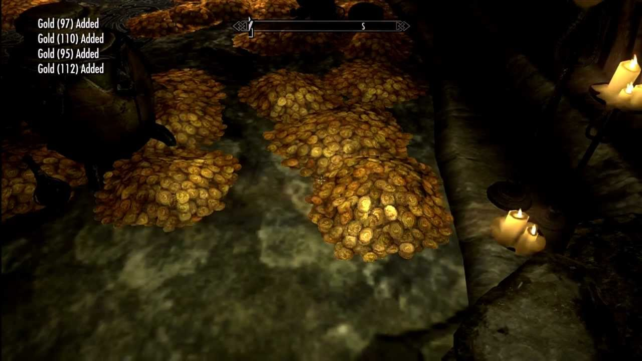 Skyrim Dragonborn Treasure Room Free Gold Youtube