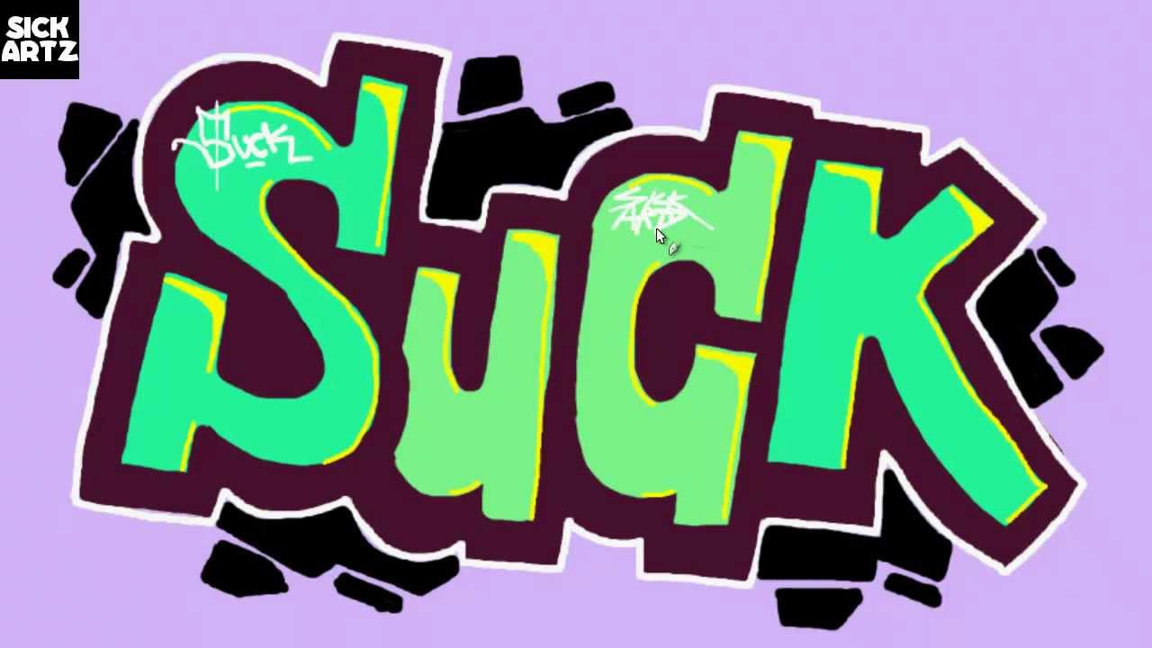 How To Draw Graffiti Suck Speed Painting Tutorial Sketch Learn Ms Paint Lernen Blackbook Letters