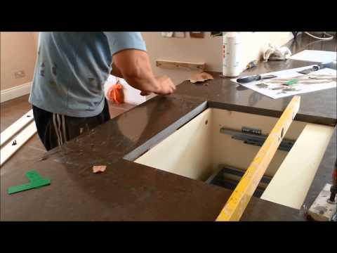 Silestone Amazon (dark) and Caesarstone Dreamy Marfil (light) Kitchen Worktop Fitting - July 2014
