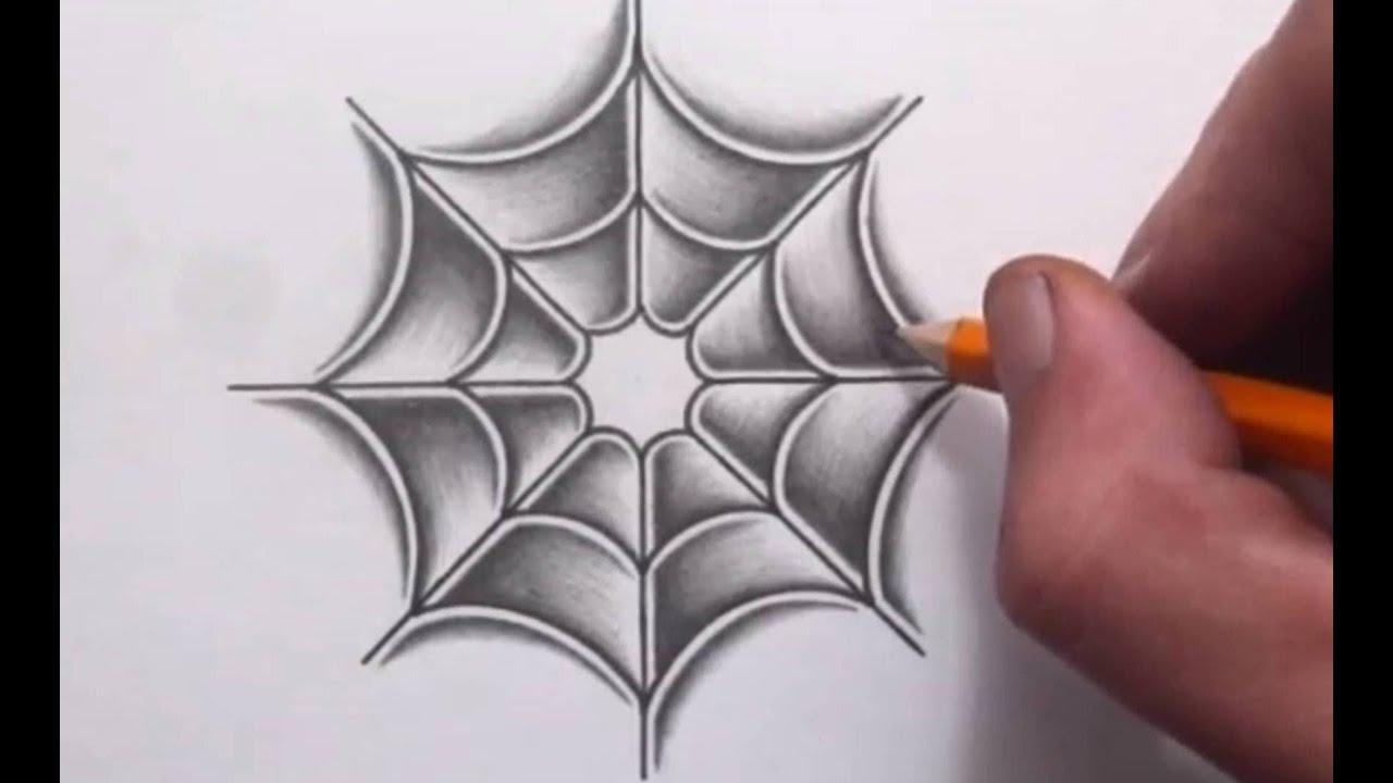 Spider web drawing shading