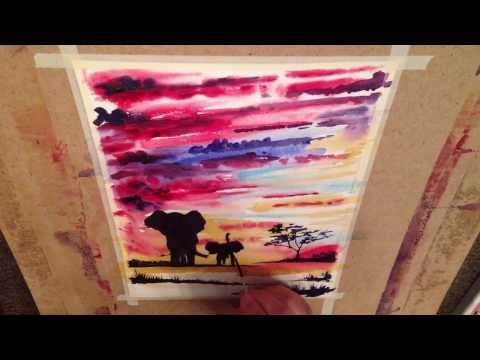 African Sunset - Elephants: mother and baby at the oasis - Kenyan Safari Watercolour demo