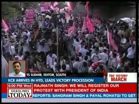 K Chandrasekhar Rao arrives to rousing welcome in Hyderabad