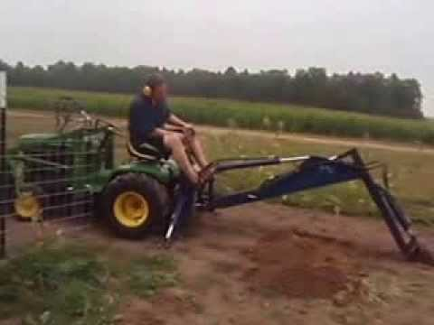 John deere 140 l amp g tractor with johnson 10tc loader and brantly