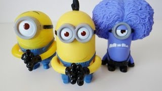 Despicable Me 2 McDonald's Happy Meal toys Purple Minion, Stuart and Tim.