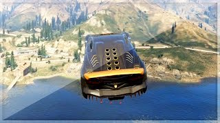 GTA 5 Funny Moments - Extreme Car Lake Jump - (GTA V Online Stunts)