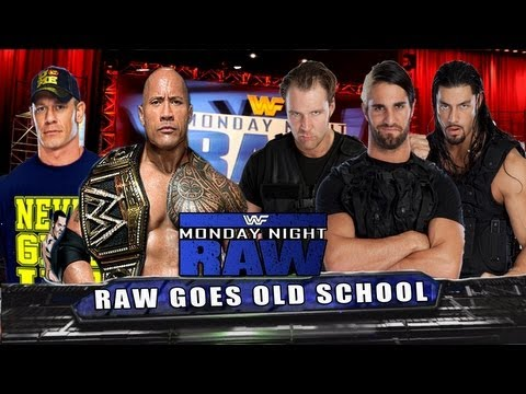 WWE RAW John Cena & THE Rock vs Dean Ambrose, Seth Rollins & Roman Reigns Full Match HD