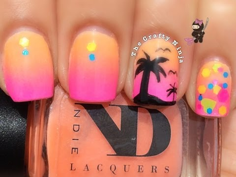 Ombré Palm Tree Nails