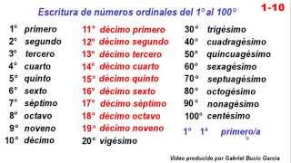 1-10 Escritura De Números Ordinales Del Primero Al