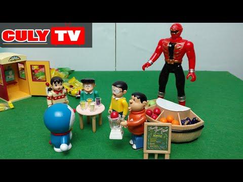 Doremon chế đồ chơi vui #6 - Nobita siêu nhân hải tặc phát nước ép trái cây - doraemon toy for kid