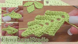 How To Crochet Two-Side Leaf Work In Back Loops Tutorial 3