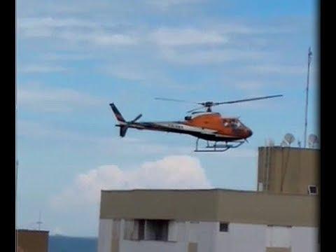 Helicóptero faz manobra arriscada em Marília