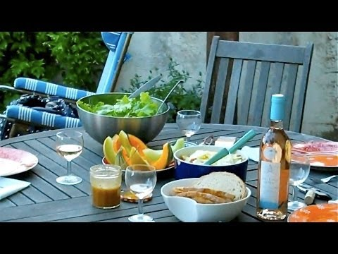 Easy french recipe. Goat Cheese, Melon, Rosé and friends in Provence ,Luberon.