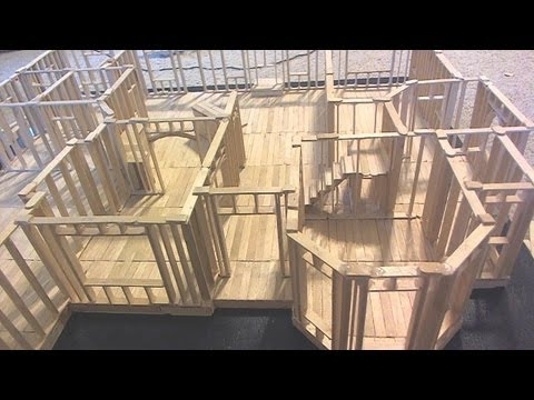 Building Popsicle Stick House Time Lapse - YouTube