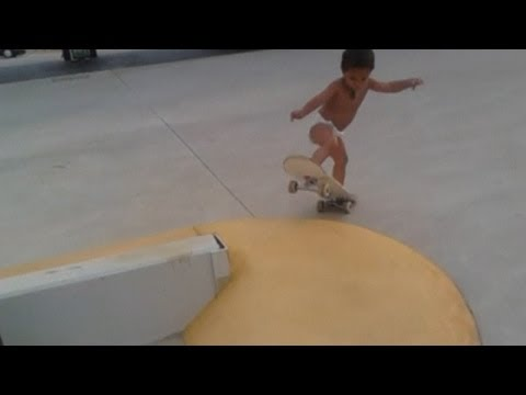 Skateboarding toddler! Amazing video of two-year-old on a skateboard