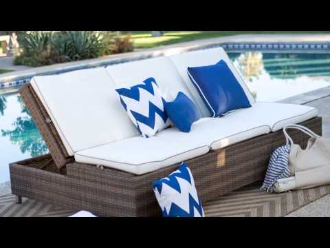 Belham living marcella wide wicker chaise lounge with for Bella flora double chaise lounge