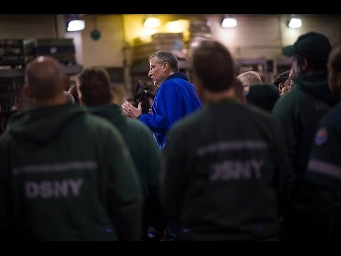 Mayor Bill de Blasio Visits Sanitation Workers and Delivers Update on Winter Storm