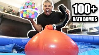 GIANT 6FT WATER BALLOON 100 BATH BOMBS EXPERIMENT!! *EXPLOSION*