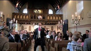 Groom's amazing football skills on wedding day! Aisle Freestyle view on youtube.com tube online.