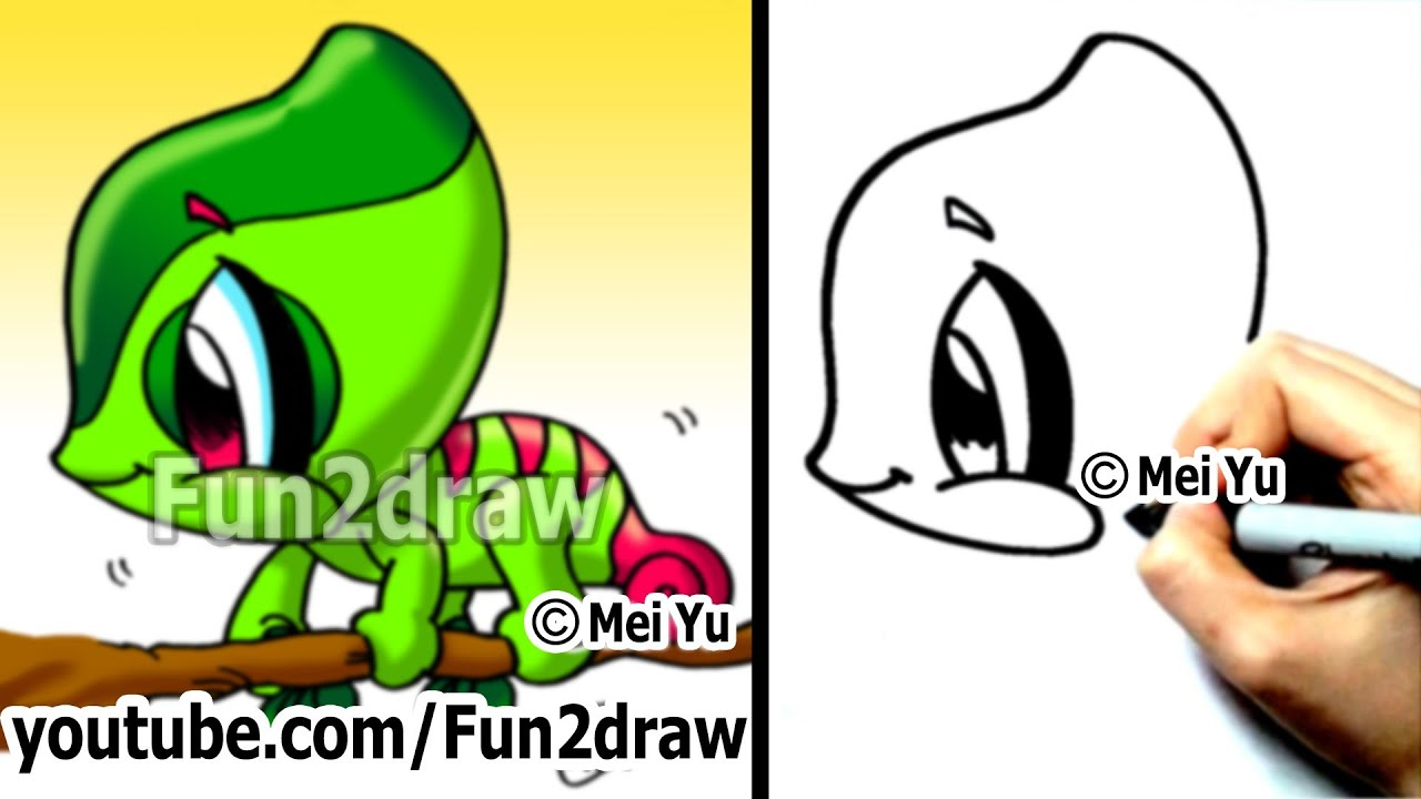 Easy Cartoon Drawing How To Draw A Chameleon Cute Art