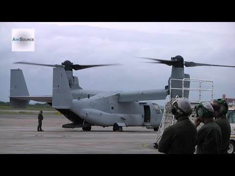 Philippines Typhoon Relief - Marine Corps MV-22 Ospreys Launch from Okinawa, Japan