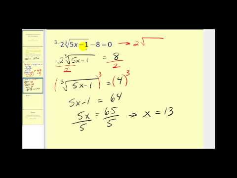 Solving Radical Equations (part 1 of 2)