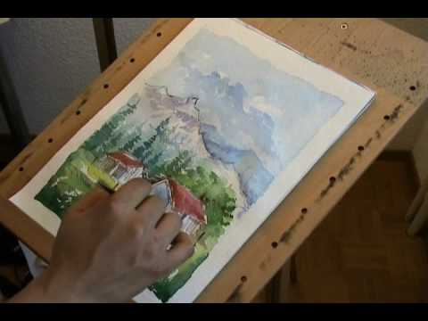 Watercolor painting of a landscape youtube for Video tutorial on watercolor painting