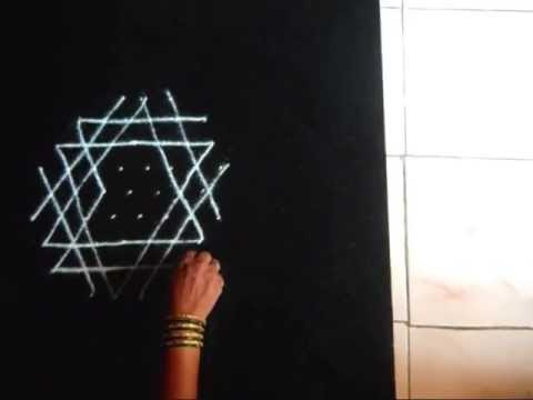 Simple rangoli for puja room - Aishwarya kolam