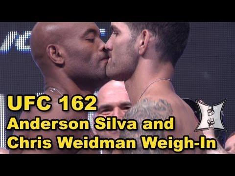 UFC 162: Anderson Silva and Chris Weidman Weigh-in + Staredown / Kiss (HD)