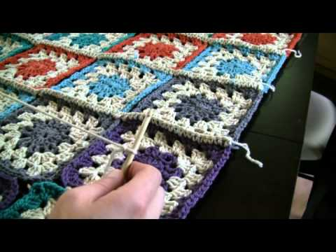 How To Crochet Color Burst Afghan Part 3 - YouTube