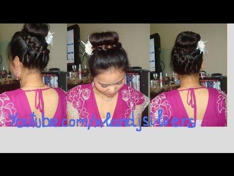 Hướng dẫn tóc: bới cao và tết tóc quanh đầu