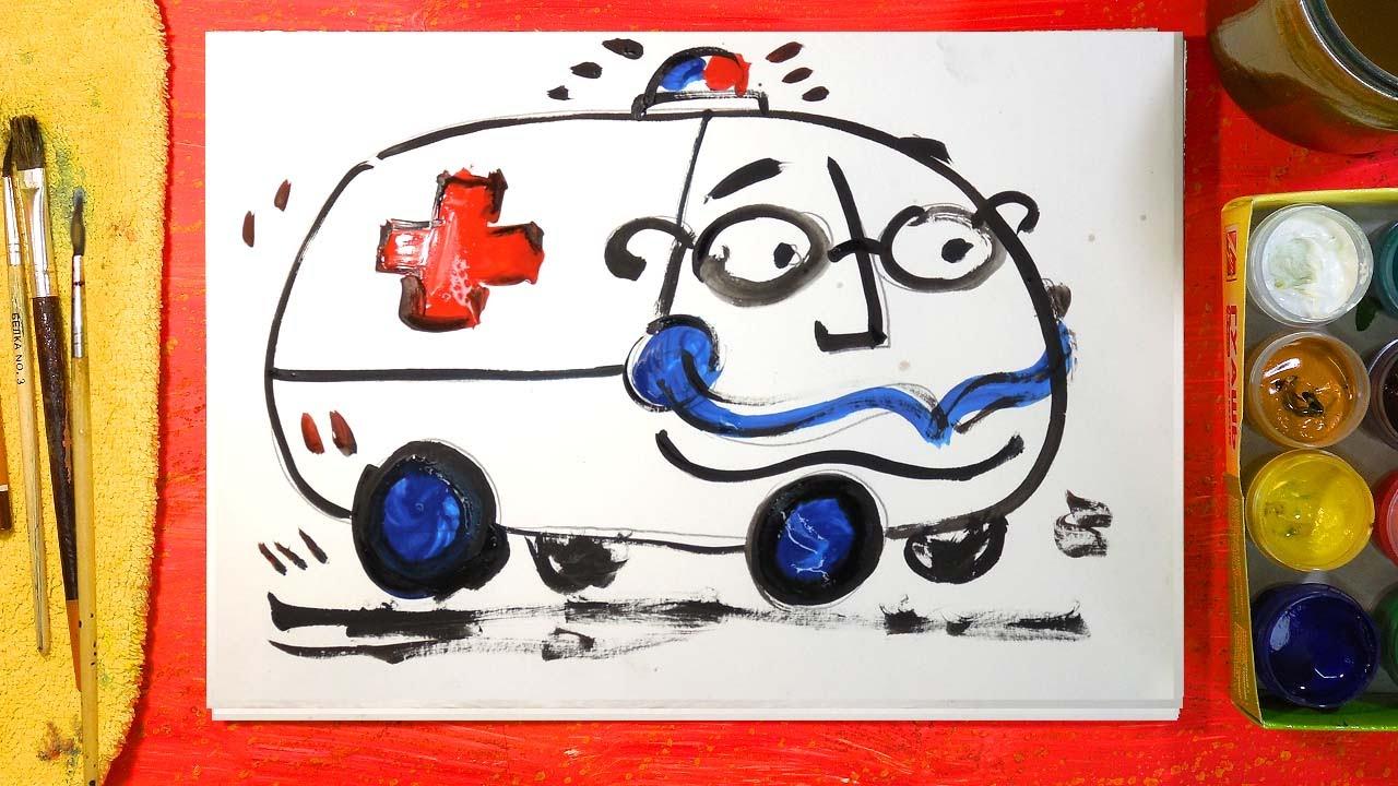 Папа кит рисует машину
