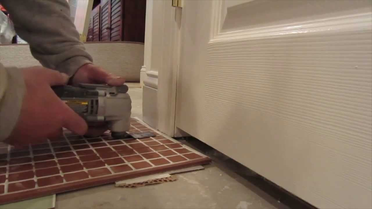 How to undercut a door casing for tile with an oscillating for Door undercut