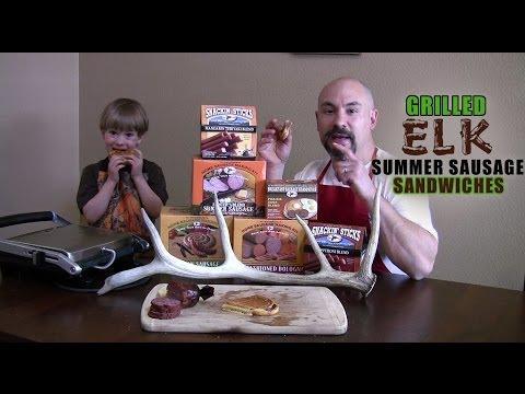 Grilled Elk Summer Sausage Sandwiches