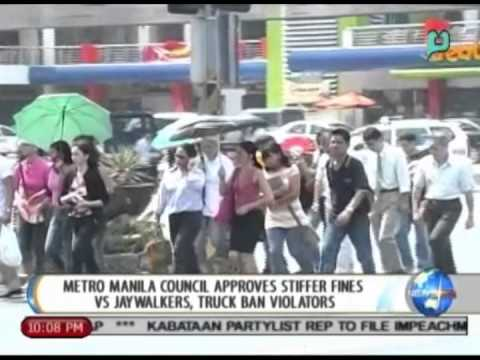 Metro Manila council approves stiffer fines vs jaywalkers, truck ban violators || July 8, 2014