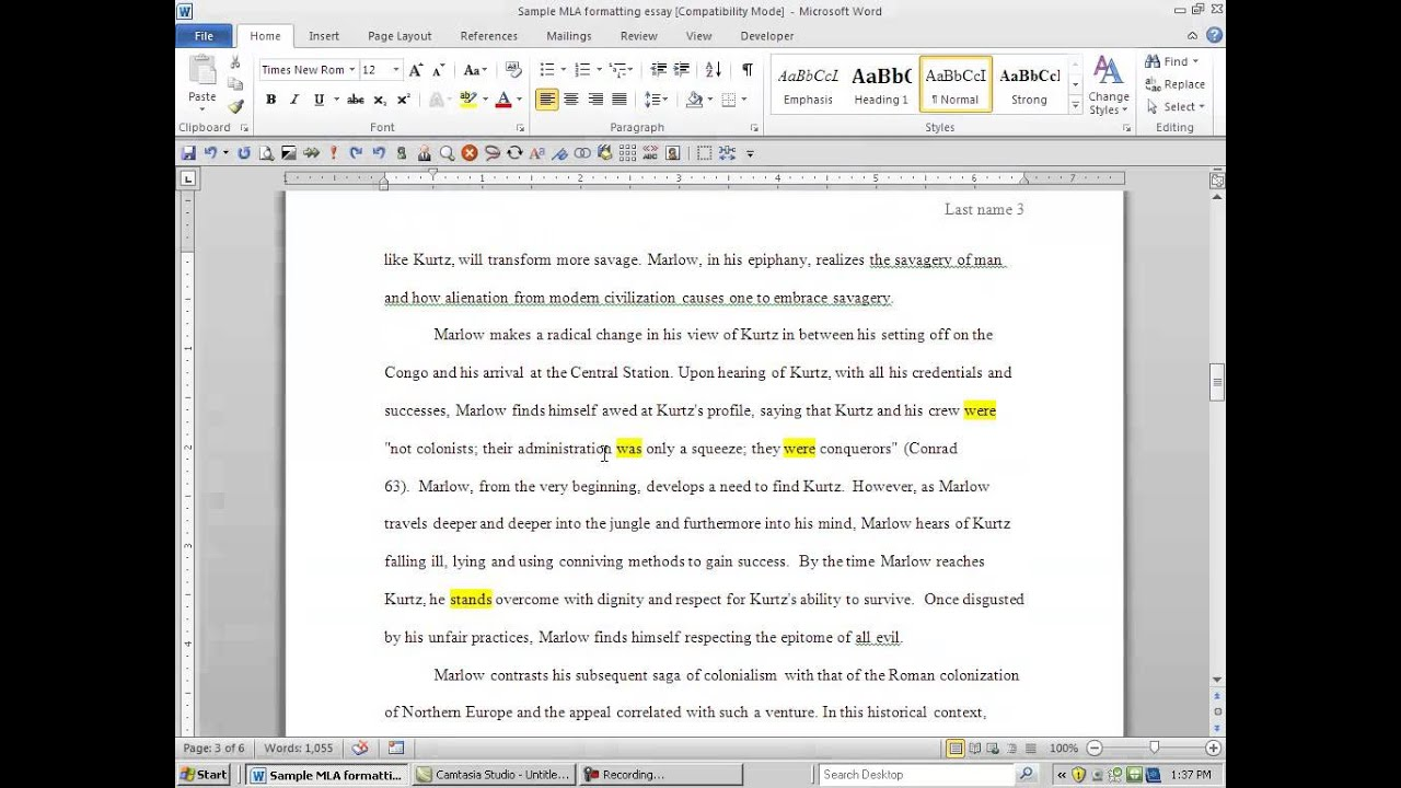 How to mention a character in an essay mla