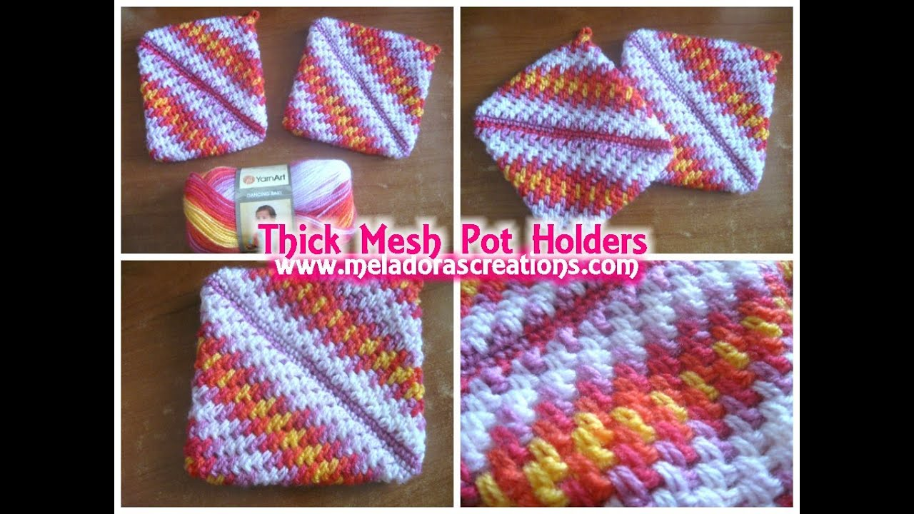 Crochet Stitches Mesh : Crocheted Pot holders Thick Crochet Mesh / Brick Stitch Stitch ...