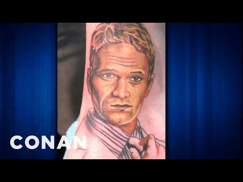 Neil Patrick Harris Faces Fan Tattoo - CONAN on TBS