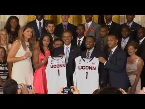 Basketball champion falls off stage at White House reception