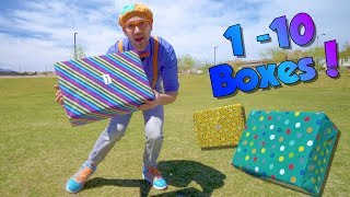 Blippi Teaches Numbers 1 to 10 for Children   Surprise Boxes!