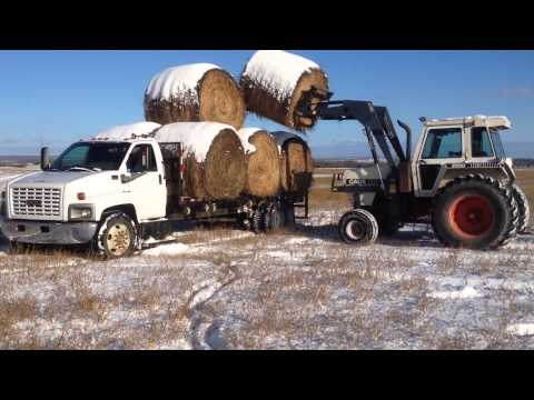 Hauling hay in the snow
