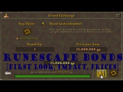 Runescape Bonds - First look, prices, my opinion
