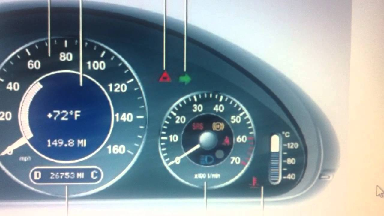 Mercedes e class w211 dashboard warning lights symbols for Mercedes benz symbol light