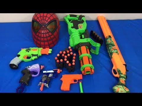 Box of Toys Toy Guns NERF Guns Spiderman Fun