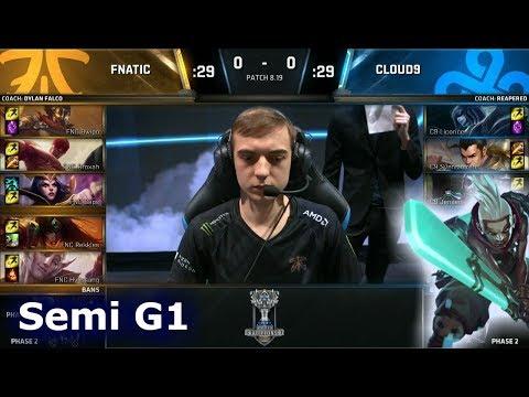 FNC vs C9 Game 1   Semi Final S8 LoL Worlds 2018   Fnatic vs Cloud 9 G1