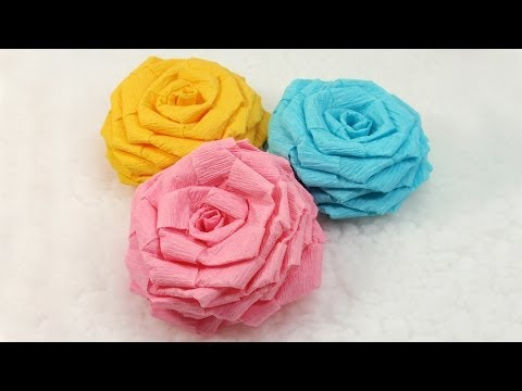How to make a colorful rose flower from printer paper beautiful paper flowers tutorial diy crepe paper roses mightylinksfo